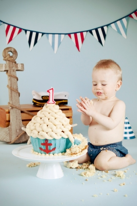 Ari first birthday nautical cake smash